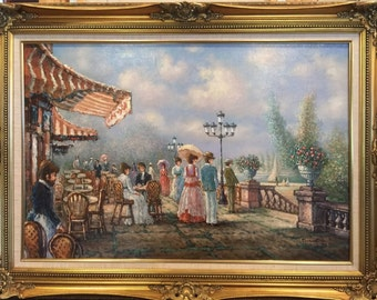 "Signed Original Painting ""Stroll Along the Seine"" by Artist Sebastian"