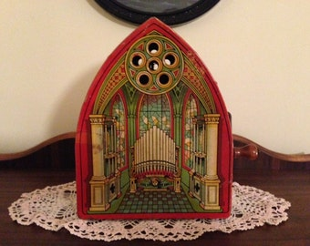 Vintage J. Chein Tin Toy Wind Up Cathedral Lithograph Music Box