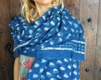 Sarong in indigo blue hand block print cotton