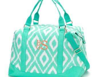 Mint Ikat Monogrammed Weekender Bag