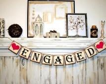 ENGAGED BANNER Wedding Sign  Wedding Decoration Bridal Shower Banner Photo Prop Banner Engaged