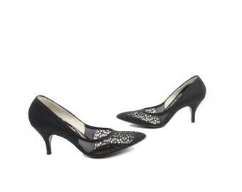 Vintage 50s Crochet Pumps Stilettos Black Pumps Womens Rockabilly Fashion Pinup Shoes 1950s  Size 5 Dress Shoes Life Stride