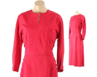 Vintage 50s Wiggle Dress Scarlet Red Dress Long Sleeves Womens Spring Fashion 1950s XL Large L Rockabilly Pinup Work
