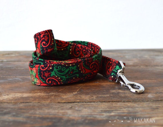 Leash for dog model Elf. Handmade with 100% cotton fabric and webbing. Two width available. Wakaka
