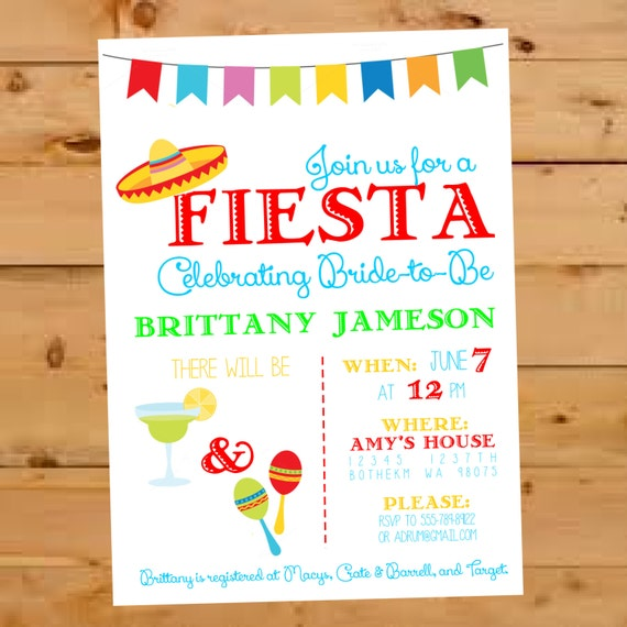 Mexican Bridal Shower Invitation Fiesta Bridal Shower Invite