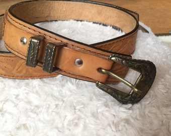 Vintage handmade light brown leather belt