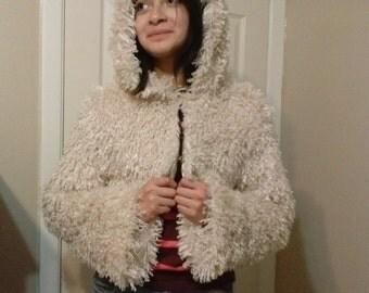 New handmade blonde faux mongolian fur hoodie, jacket, beige, ivory, pearl, bolero, unique