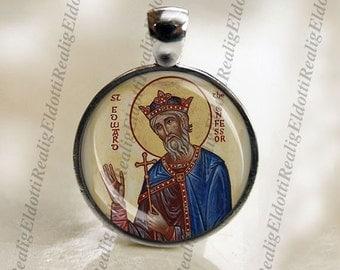 St Edward the Confessor Patron Saint Christian Catholic Medal Charm Pendant For Necklace / Keychain