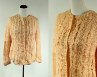 50's Peach Handknit Wool and Mohair Sweater