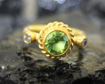 925K Sterling Silver Handmade Gold Over 6 mm Peridot Ring