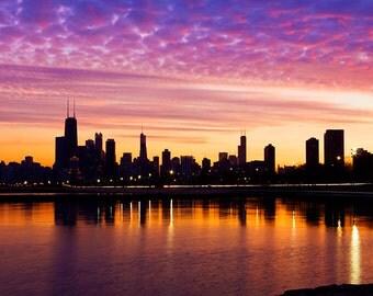 Chicago skyline cityscape at sunset - Chicago wall decor Cityscape art - Chicago purple & orange - Chicago city color art print