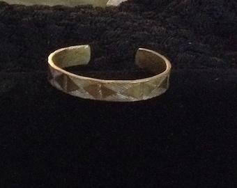 Vintage Cuff Bracelet Brass Etched Design