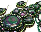 Bead Embroidered unique beadwork agate necklace and earrings Maelstrom, OOAK Jewelry,  gemstone jewelry, seed bead jewelry