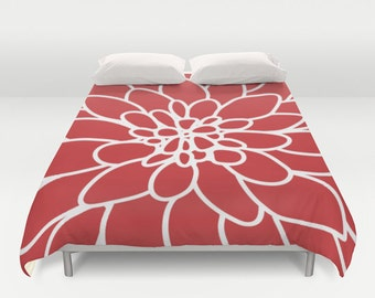 Modern Dahlia Flower Duvet Cover - Red Bedding - Queen Size Duvet Cover - King Size Duvet Cover