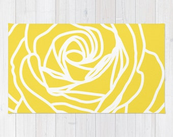 Rose Area Rug - Modern Flower Rug - Yellow and White - Abstract Flower Area Rug - Home Decor