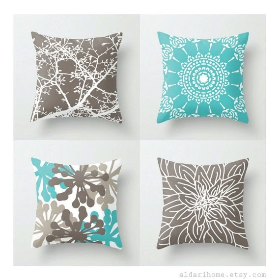 Modern Turquoise and Brown Pillows / Set of 4 Pillow by AldariHome
