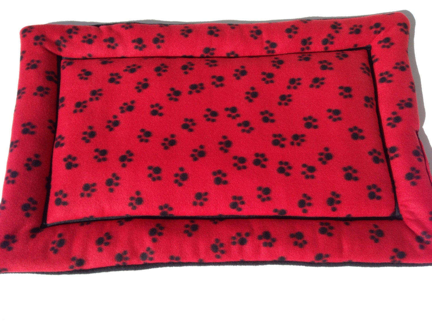 Paw Prints Fleece Dog Crate Mat Dog Bed Large Crate Pad