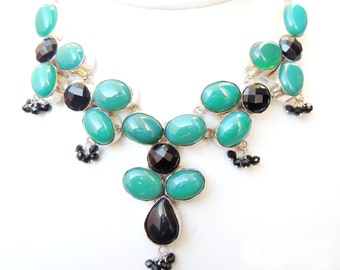 92.5 Silver plated Black onyx,  Green onyx Natural  stone beads necklace