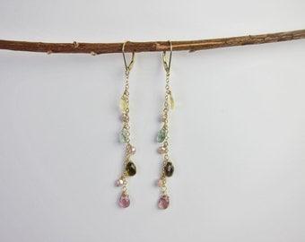 Pink and Green Tourmaline, Pearl 14K Gold Handmade Earrings
