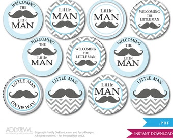 Little Man Mustache Cupcake Toppers for Baby Shower Printable DIY, favor tags, circles, It's a Little Man, Chevron -  oz57bs0