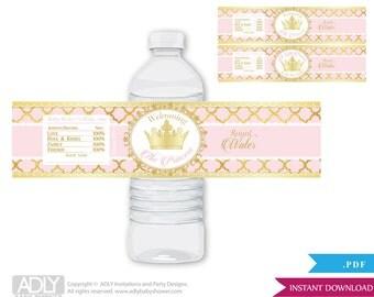 Gold Pink Princess Royal Baby Shower Water Bottle Wrappers, Labels, - it's a Princess Gold Pink, Elegant, gold foil, royal water - oz12bs5