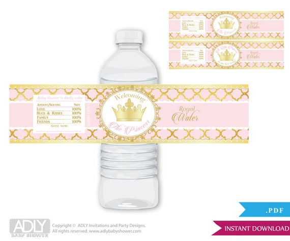 Gold Pink Princess Royal Baby Shower Water Bottle Wrappers, Labels ...