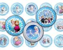 Frozen 1 Inch Circles Frozen Bottlecap Image Frozen Bottle Cap Image Party Circles Jewelry Pendant Magnets Sticker Printable DIY Frozen 0041