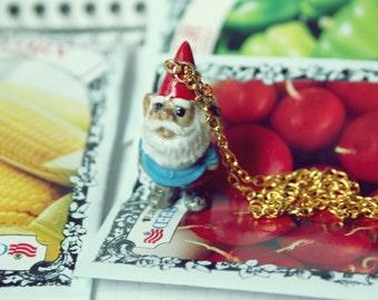 garden gnome necklace // figurine necklace // gnome jewelry // porcelain figurine jewelry