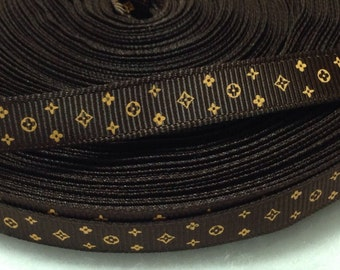 "4 Yards of 3/8"" Louis Vuitton Inspired  Grosgrain Ribbon"