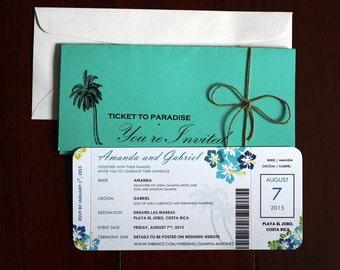 Unique Destination Wedding / Airline Ticket Style Invitations