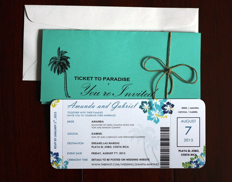 Unique Wedding Invites: Unique Destination Wedding / Airline Ticket Style Invitations