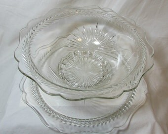 Pressed Glass Serving Bowl and Cake Plate Set, Vintage 1950's, Starburst Pattern