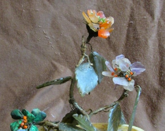 Blooms Forever Bonsai Flowers, Vintage 1950's or 1960's, Alabaster Pot, Amethyst, Malachite, Coral, and Jade