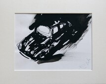 Volkswagen Beetle, original drawing, framed and ready to hang, great gift for a car lover, unique artwork directly from the artist