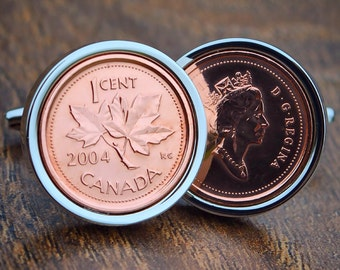 Canadian One Cent Coin Cufflinks