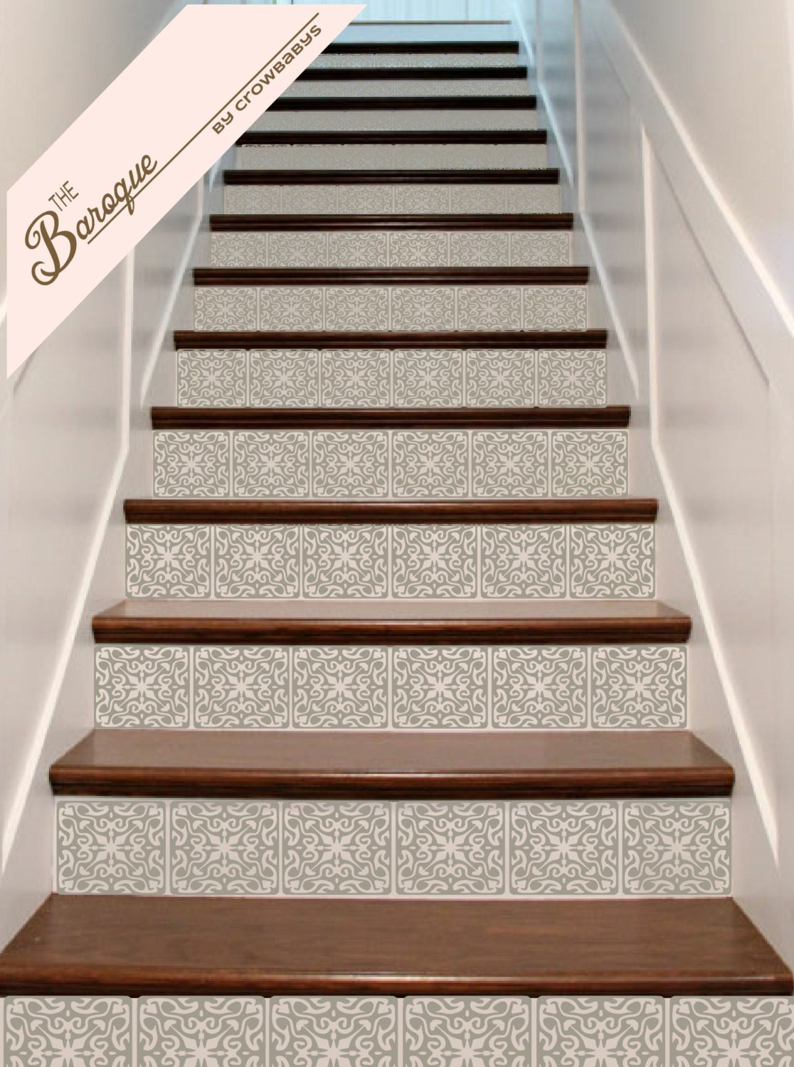 Stair stickers ornate vinyl tile decals for stair risers for Escalier decor