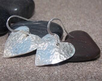 Large Sterling Silver hand cut heart earrings