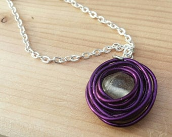 birds nest necklace,  purple  birds nest necklace, wire wrapped necklace, bird nest necklace, purple nest, purple jewelry, mothers necklace