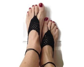 Barefoot sandals beach weddings crochet barefoot sandals cotton black barefoot sandals bridal accessories