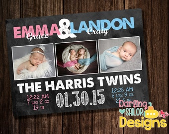 Twin Birth Announcement, Twin Announcement, 5x7, Print on your own or order prints, Chalkboard, Photo Birth Announcement