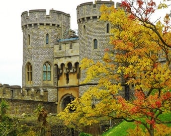 Fall at Windsor Castle - London, England, United Kingdom - Color 8x10 Photo Art Picture Poster