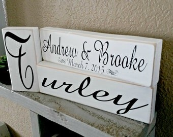 PERSONALIZED Family Establish Wood sign- Blocks Sign!! Wedding/Newlywed/Family- custom sign