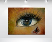 Modern abstract Paintings,original surreal eye butterfly, oil painting.