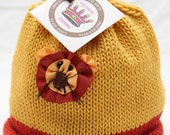 Little Lion Knitted Cotton Newborn Baby Hat in Yellow and Red, Hand-Knit, Best Baby Gift