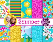 Summer digital papers *  Palette inspired by Disney's Frozen movie * Instant Download *