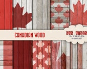 Canada Digital Paper set,  maple leaf canadian flag on wood texture paper pack, commercial use
