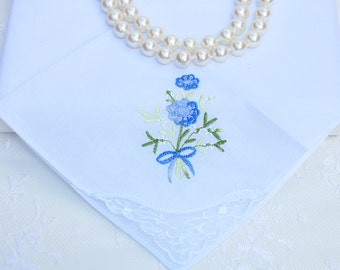 Lovely vintage embroidered blue flowers handkerchief with gift box.Wedding, Bride,Bridesmaid gift/Birthday gift/Get well gift/Thank you gift