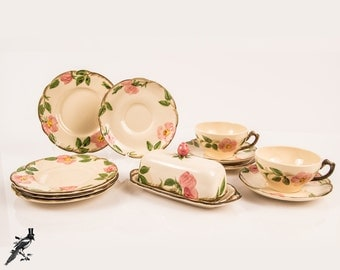 Franciscan Desert Rose USA Backstamp Dinnerware Set RARE Covered Butter Dish Two Cups and Saucers 2 More Saucers, 4 Bread and Butter Plates
