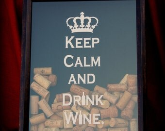 Wine Cork Shadowbox - Keep Calm and Drink Wine