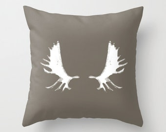 Moose Antlers Pillow Cover, antler decor, brown pillow white antlers, deer pillow, moose pillow, moose lover gift, cabin pillow choose color